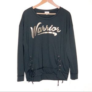 AVLN STUDIO Warrior Graphic Black Lace Up Sweater